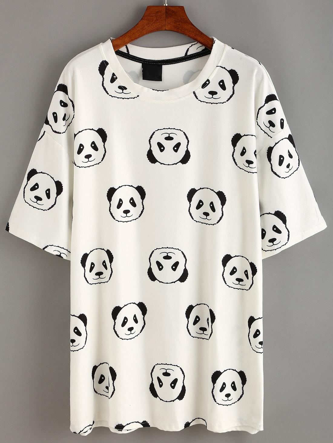 white panda print t shirt dress shein sheinside. Black Bedroom Furniture Sets. Home Design Ideas