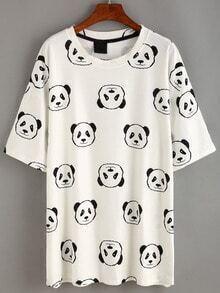 White Panda Print T-shirt Dress