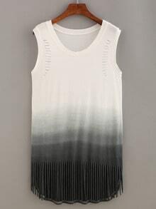Cutout Fringe Ombre Tank Dress
