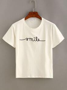 Letter Embroidered Short Sleeve T-shirt