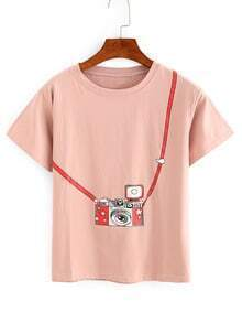 Pink Camera Print T-shirt