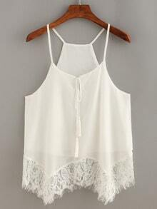 Lace Trimmed Tassel-Tie Neck Cami Top