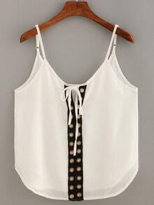 Contrast Eyelet Panel Front Tie-Neck Cami Top