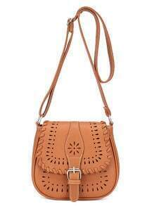 Laser-Cut Buckle Strap Saddle Bag - Brown