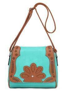 Contrast Laser-Cut Flower Patch Flap Bag - Green