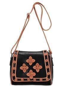 Contrast Laser-Cut Flower Patch Flap Bag