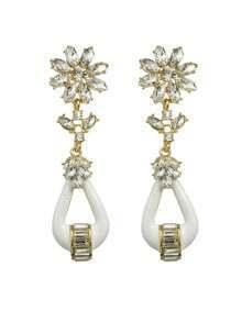 White Rhinestone Drop Stone Earrings