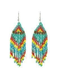 Blue Beads Chain Earrings