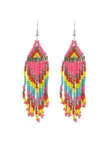 Hotpink Beads Chain Earrings