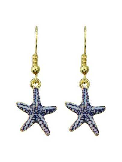 Starfish Shaped Long Drop Earrings