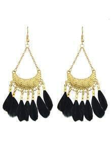 Black Feather Big Chandelier Earrings