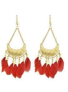 Red Feather Big Chandelier Earrings