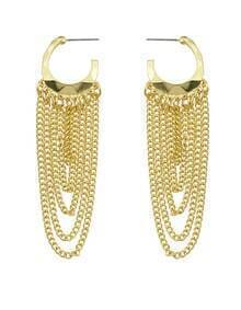 Gold Plated Long Tassel Earrings