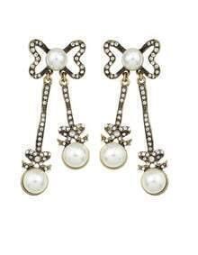 Bow Tie Long Drop Pearl Earrings