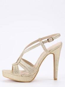 Faux Suede Cutout Crisscross Heels - Light Gold