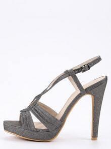 Faux Suede Cutout Crisscross Heels - Black