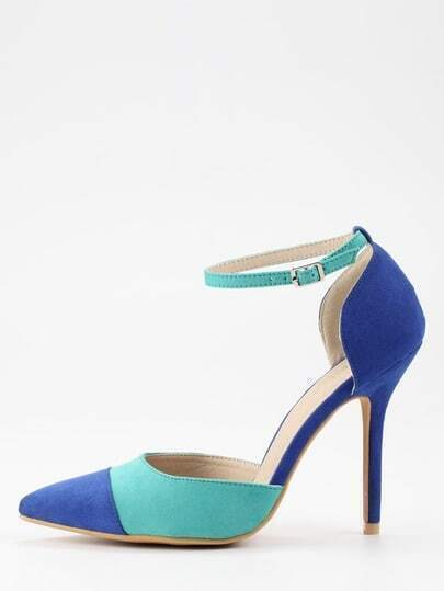 Green & Blue Ankle Strap D'orsay Pumps