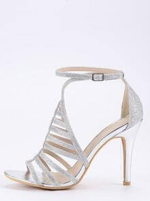 Silver Glitter Caged Ankle Strap Pumps