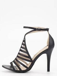 Black Glitter Caged Ankle Strap Pumps