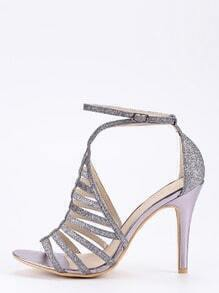 Dark Grey Glitter Caged Ankle Strap Pumps