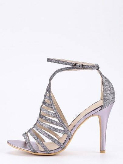 Dark Grey Glitter Caged Ankle Strap Sandals