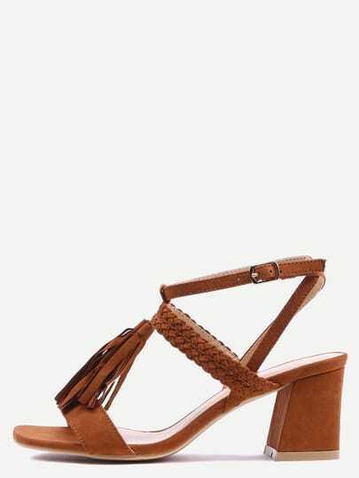 Braided Tassel Trimmed Sandals - Brown