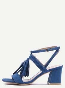 Sandales à talon avec frange - bleu foncé