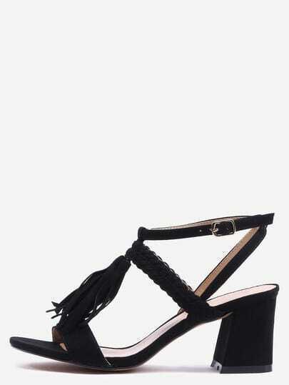 Braided Tassel Trimmed Sandals - Black