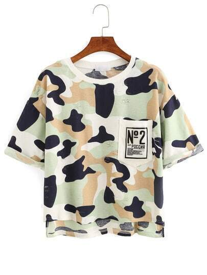 Camouflage High-Low Pocket T-shirt - Green