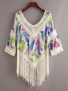 Crochet Trimmed Fringe Feather Print Top