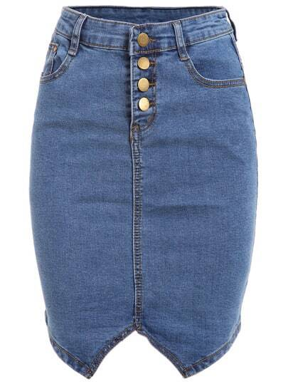 Buttoned Fly Denim Pencil Skirt