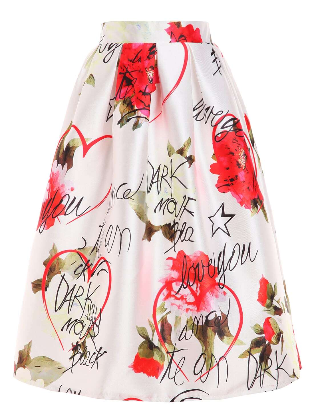 Rose & Letter Print Box Pleated Midi Skirt