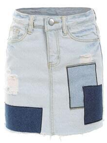 Frayed Patch Denim Skirt