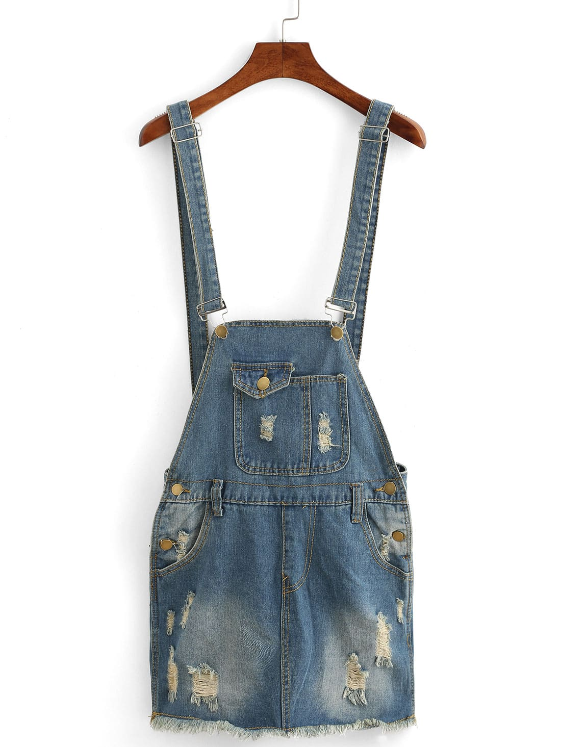 frayed raw hem overall denim dress sheinsheinside