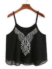Embroidery Chiffon Cami Top - Black