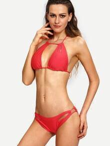 Halter Neck Cutout Bikini Set