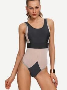 Mesh Insert Backless One-Piece Swimwear - Black