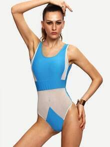 Mesh Insert Backless One-Piece Swimwear - Blue