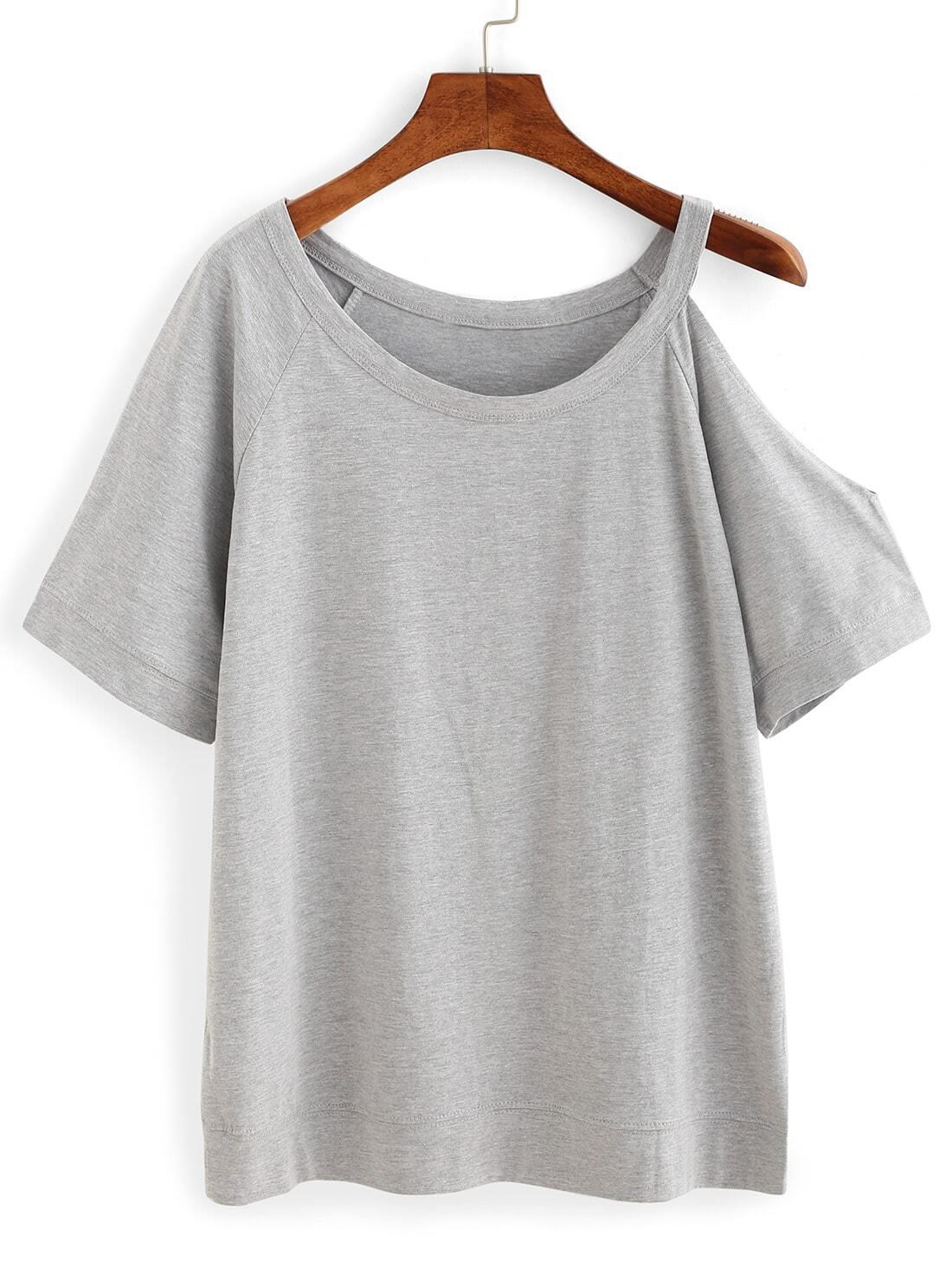 cutout one shoulder t shirt shein sheinside. Black Bedroom Furniture Sets. Home Design Ideas