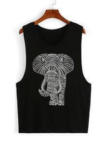 Elephant Print Drop Armhole Tank Top - Black