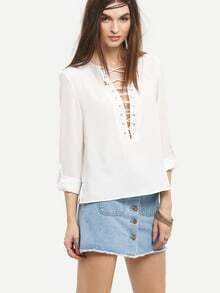 Lace-Up Rolled Sleeve Blouse - White