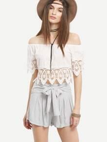 Self-Tie Waist Box Pleated Shorts