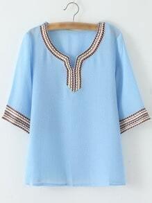 Blue Half Sleeve Stripe V Neck Chiffon Blouse