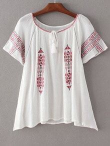 White Short Sleeve Tie Neck Tassel Embroidery Blouse