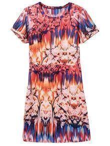 Multicolor Round Neck Short Sleeve Print Dress