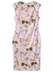 Multicolor Sleeveless Zipper Back Print Dress