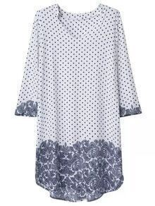 Multicolor V Neck Polka Dots Print Dress
