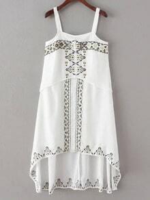 White Embroidery Spaghetti Strap High Low Dress