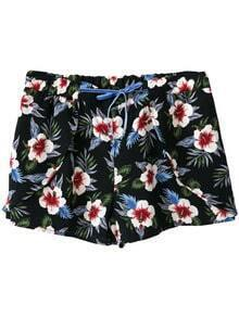Multicolor Pockets Tie-Waist Flowers Print Shorts