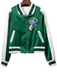 Green Pockets Zipper Front Embroidery Jacket